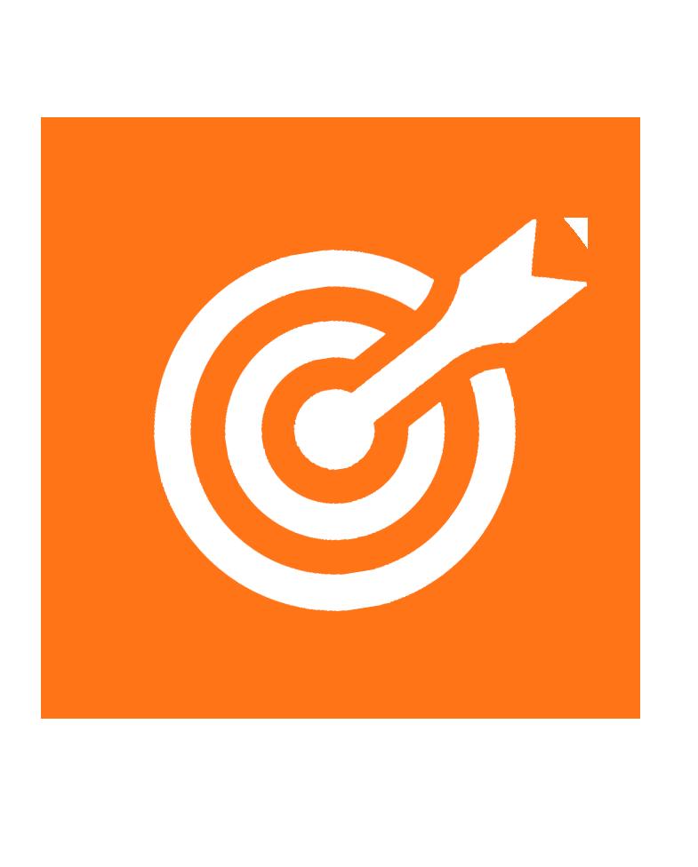 imagem laranja com um alvo representando 'Missão'