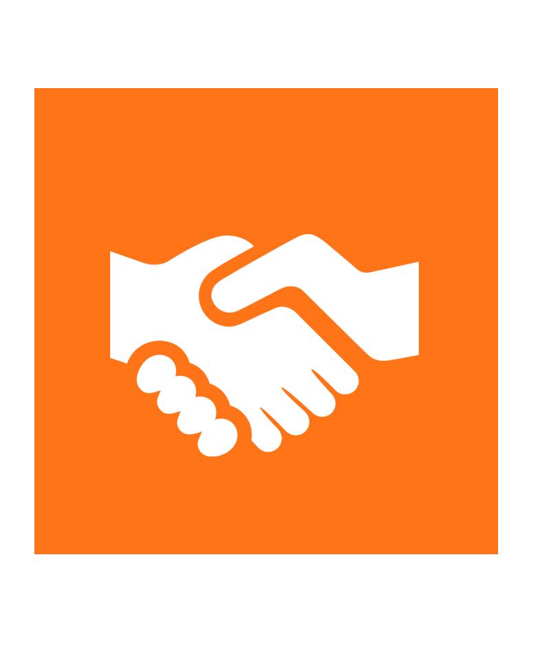 imagem laranja com duas mãos apertando representando 'Valores'